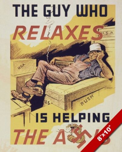 WWII GET BACK TO WORK LAZY ANTI AXIS PROPAGANDA POSTER REAL CANVASART PRINT