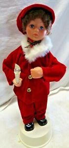 """Vintage Doll 16"""" Christmas Caroler BOY w/ Illuminated Candle Rennoc FAST SHIP!"""