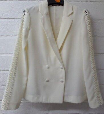 UnermüDlich Womens Ladies New Short Ivory Lace Sleeve Smart Formal Tuxedo Blazer/jacket 6-14