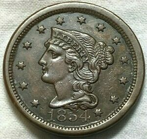 1854 Braided Hair US Large Cent 1c ~ Solid AU+ Coin ~ RARE About Uncirculated