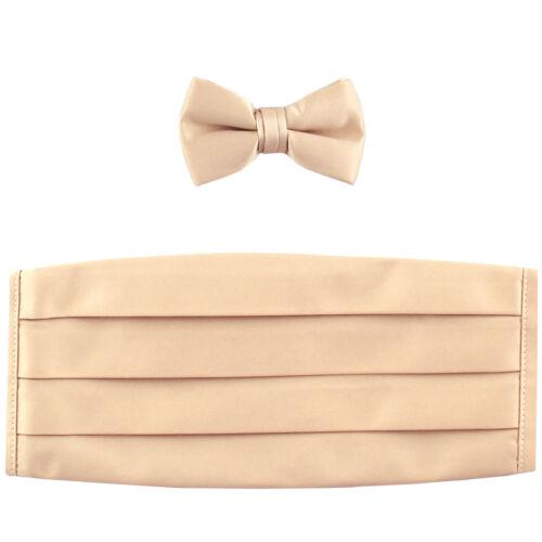 NEW in box 100/% polyester boys kids Cummerbund /& bowtie set formal Beige