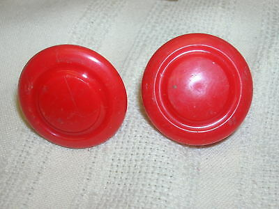 2 Vintage Red Plastic Lid Knobs for Art Deco Canisters Knobs ONLY