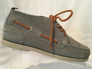 e3938ebe968 Lands End Canvas 1963 Grey Suede Leather Moc Toe Ankle Boot Boat ...