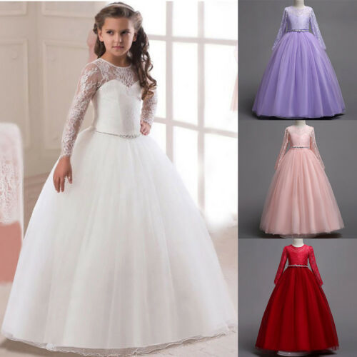 Flower Girls Illusion Lace Long Sleeve Wedding Party Communion Gown