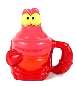 Disney-on-Ice-Little-Mermaid-Sebastian-Flip-Top-Lid-Plastic-Mug-Cup-6-034-EUC