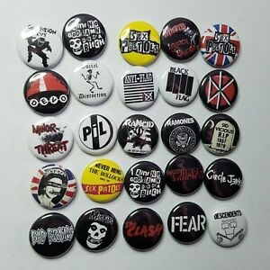 "PUNK ROCK 1"" PINBACK BUTTON COLLECTION LOT of 25 -pin badge- sex pistols misfits"