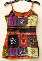 Nepal Handmade Fair Trade Embroidered Womens Cotton Tank Top Small