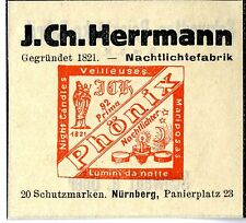J.Ch. Herrmann Nürnberg Nachtlichtefabrik Trademark 1912
