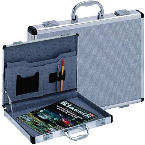 Aktenkoffer Koffer Attachekoffer Aluminium Alu silber schmal dünn SLIM