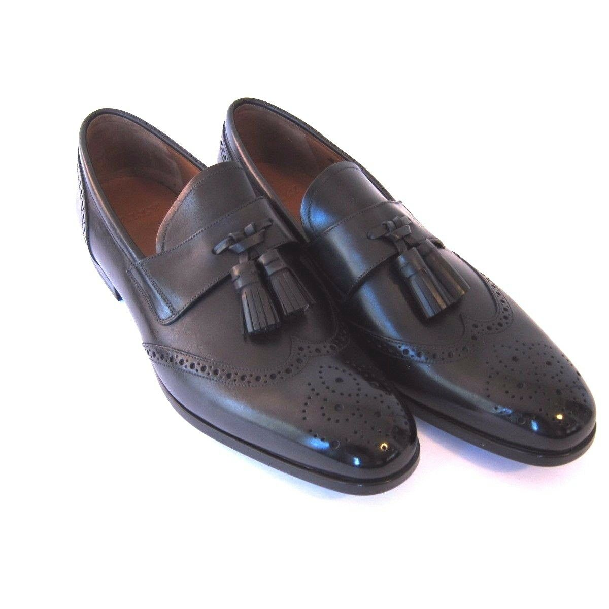 J-1831149 New Bally Lavent Black Washed Oxford Loafer Dress shoes Size 10.5