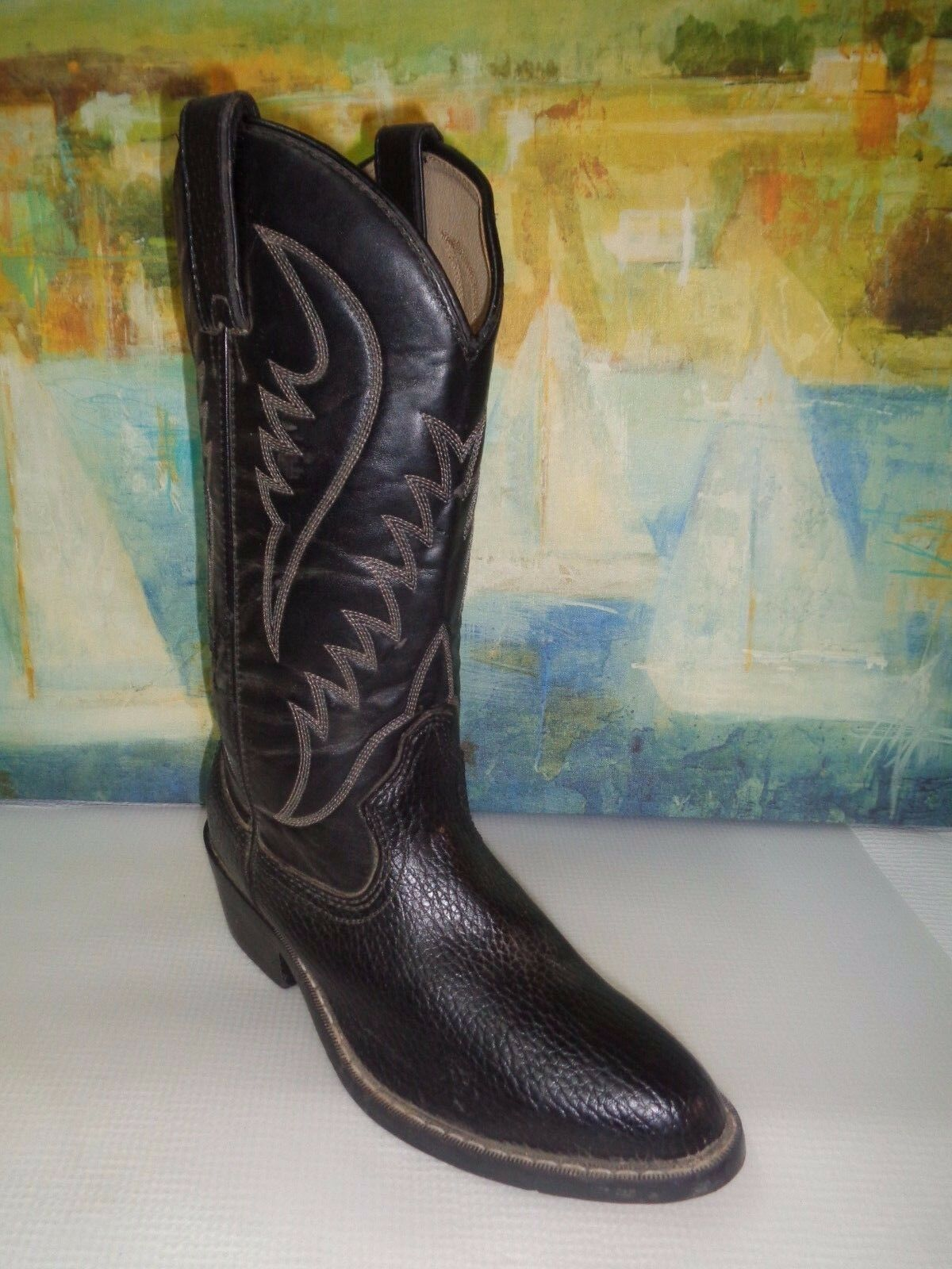 Black Leather EXPRESS RIDER Western Boots Men's  sz  7.5