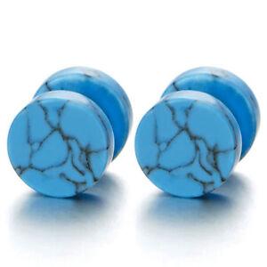 Image Is Loading 10mm Blue Marble Stud Earrings Men Women Steel