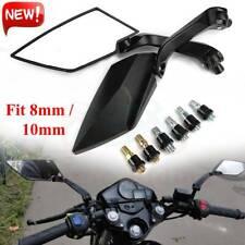 2Pcs Universal Matte Black 10mm Screw Motorcycle Rearview Rear View Side Mirror