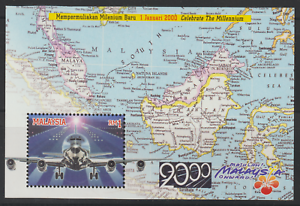 (249M)MALAYSIA 2000 THE MILLENNIUM (II) AIRPLANE MS FRESH MNH