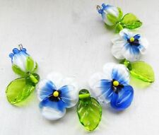 HANDMADE SRA Lampwork Glass Beads Set of PANSY FLOWERS & LEAVES 9 Beads
