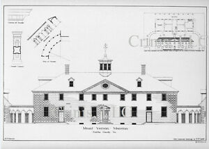 Mt Vernon Architectural drawing with floor plan of Georgian