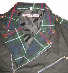 Black-Canvas-amp-Green-Tartan-Biker-Style-Jacket-PUNK-GOTH-NEW-44-034-46-034-chest