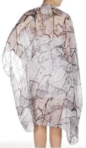 Abstract pieces print swimsuit cover-up Black ZAV20214-4