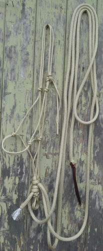 Choice of Size Beige Rope Hackamore with Mecate Horseman Reins