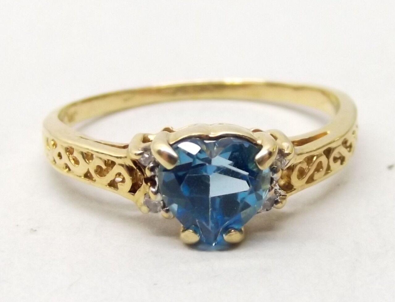 Vtg 14K gold blueeee Topaz Heart Cut Ring Sz 7 Diamond Accent Stone Ornate Scroll