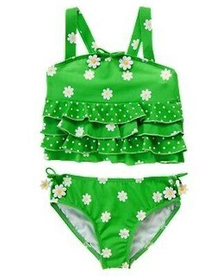 NWT Gymboree Daisy Ruffle 2-pce Tankini Swimsuit Swimwear NEW Lime Green 7 9 10