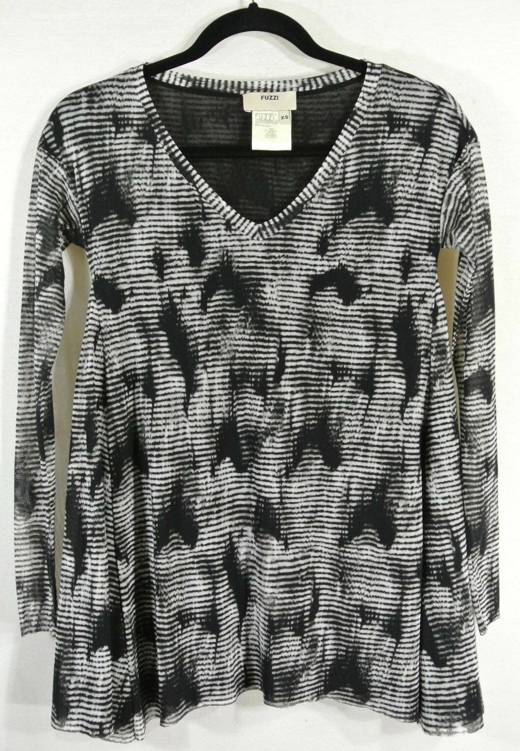 NEW Fuzzi Printed Long Sleeve Top in Smoke - Größe XS  T116