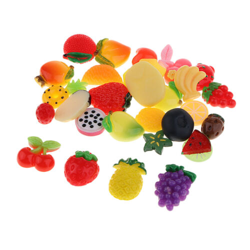 30pcs Resin Fruit Cabochon Beads Button Crafts for Jewelry Making Ornaments