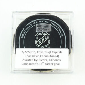 2015-16-Kevin-Connauton-Arizona-Coyotes-Game-Used-Goal-Scored-Puck-Caps-Logo