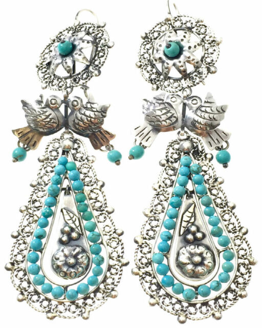 FRIDA KAHLO STYLE TAXCO MEXICAN STERLING SILVER TURQUOISE BEAD EARRINGS MEXICO