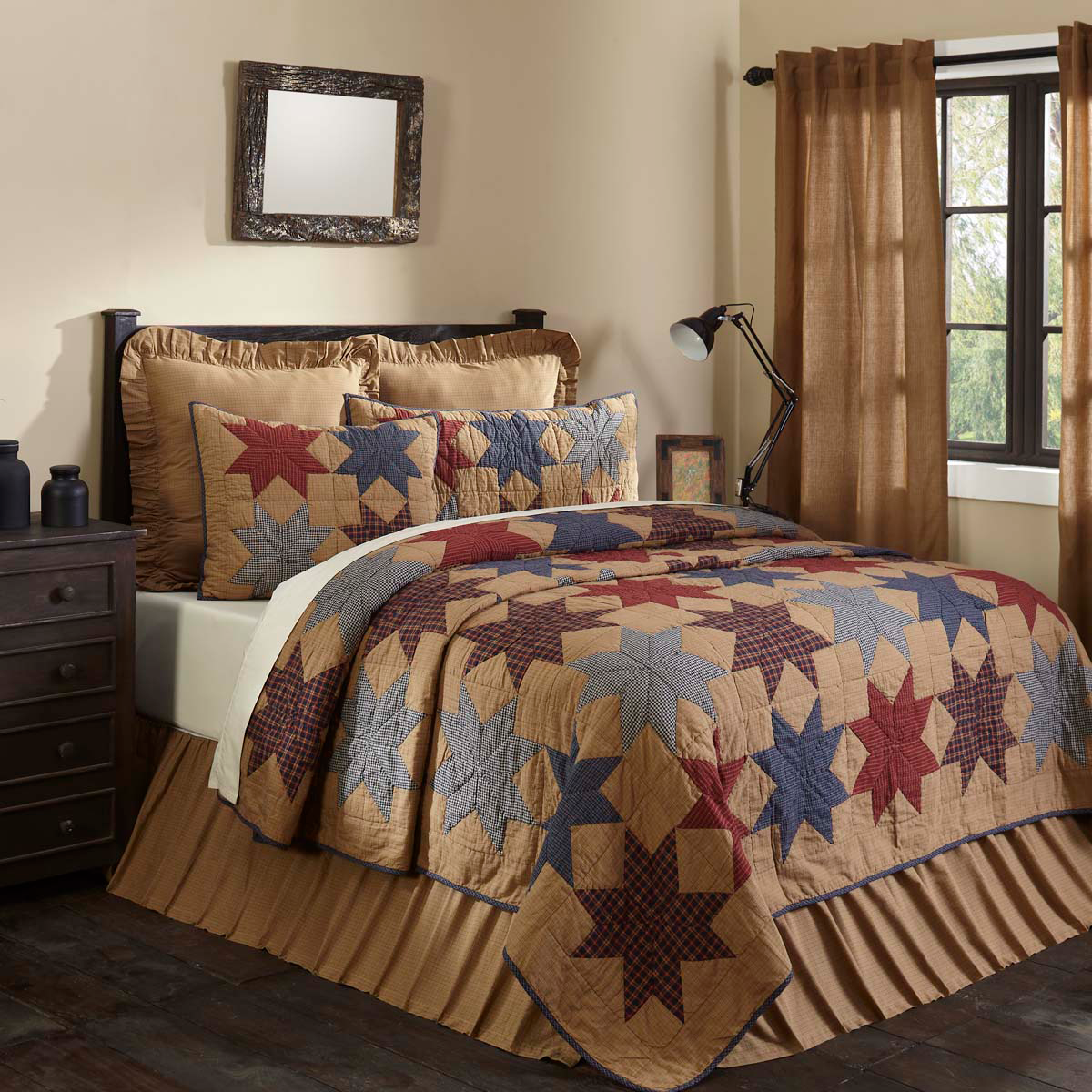 KINDrot STAR Full Queen QUILT   Blau rot 8 POINT CABIN LODGE braun PLAID