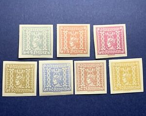 1921-22 AUSTRIA NEWSPAPER STAMPS IMPERF MH, ALL STAMPS ARE SIGNED ON BACK