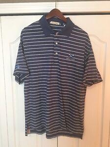 6c622ffeb21d Peter Millar Mens Golf Polo Shirt-Steel Blue Stripe-Medium-M -EDS ...