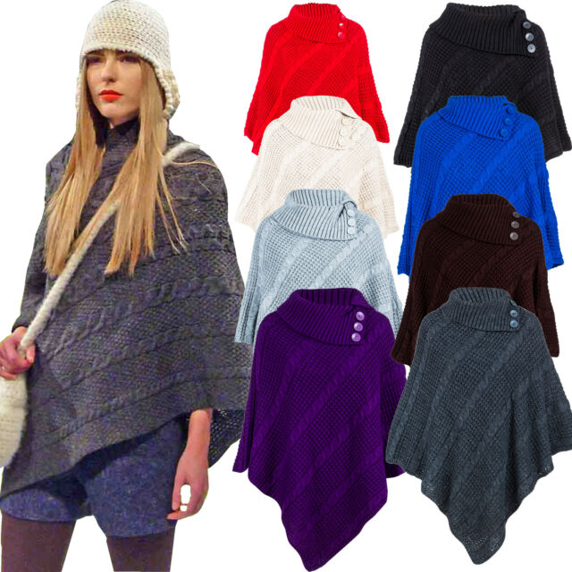 LZ170  Womens Knitted Cable 3 Button Poncho Scarf Winter Cape Shawl Cardigan