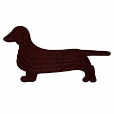 Dog Dachshund Brown Color Embroidered Iron on Patch Fabric Craft 6x8.5 cm Size M