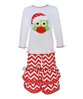 Girls Ann Loren Boutique Owl Outfit 24m 2t 3t & 6 Christmas Ruffle Pants Tee