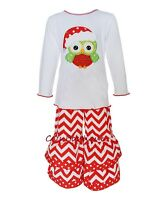 Girls Ann Loren Boutique Owl Outfit 24m 2t 3t & 6 Christmas Ruffle Pants Tee
