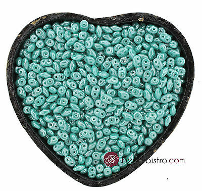 SuperDuos 2x5mm LUSTER OPAQUE TURQUOISE  2 Hole SuperDuo Beads - 20 Grams