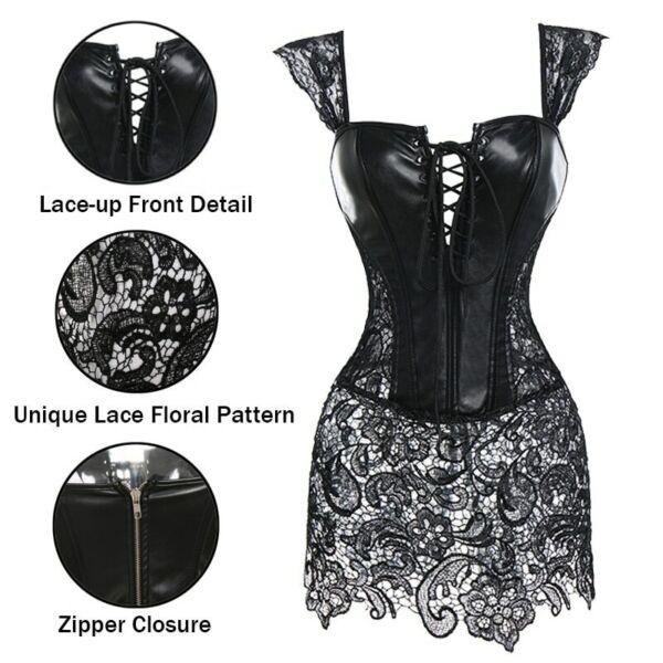 Kunstleder Korsett Gothic Bustier Sexy Dessous Steampunk Kostüm Kleider Damen BS