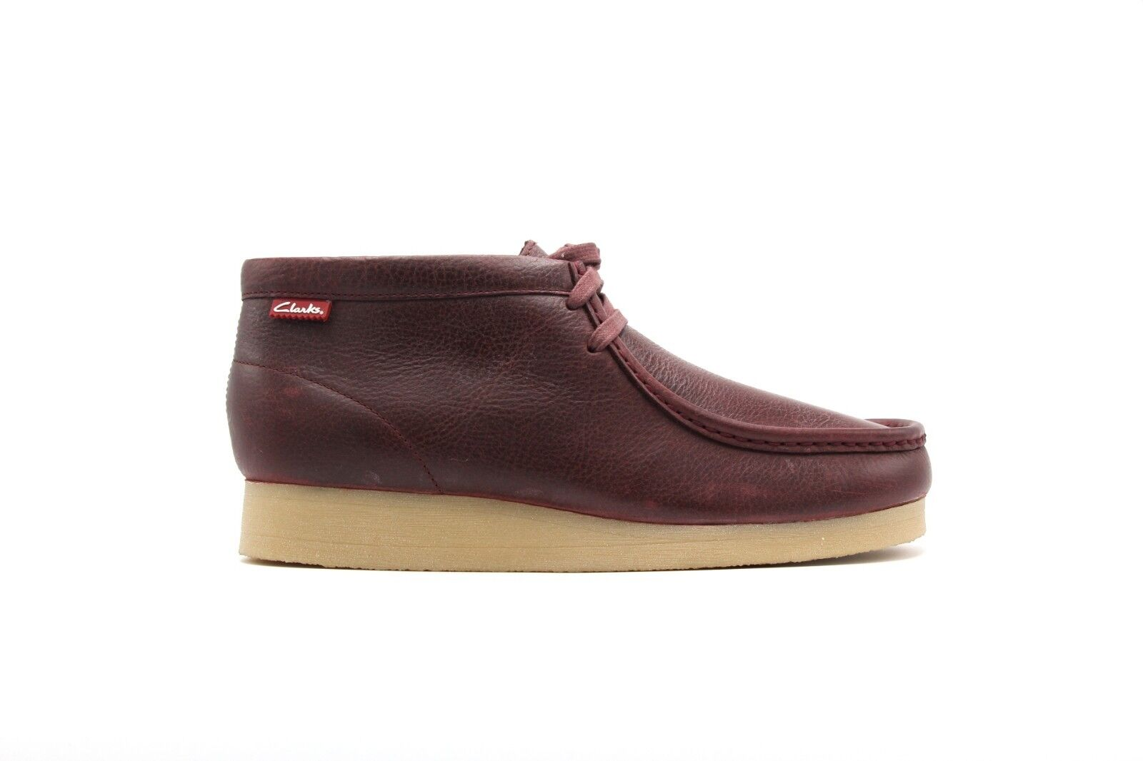 NEW CLARKS STINSON HI BURGUNDY CRANBERRY RED LEATHER WALLABEE STYLE BOOTS