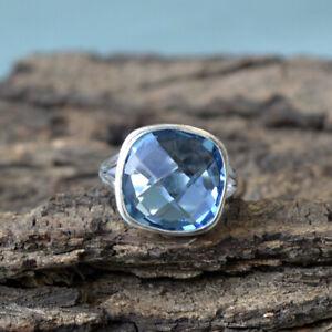 Checker-Cut-Blue-Quartz-925-Sterling-Silver-Artisan-Handmade-Cushion-Gift-Ring