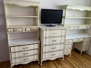 Dixie French Provincial Cream Vintage Complete Bedroom Furniture Set 8 Pieces Ebay