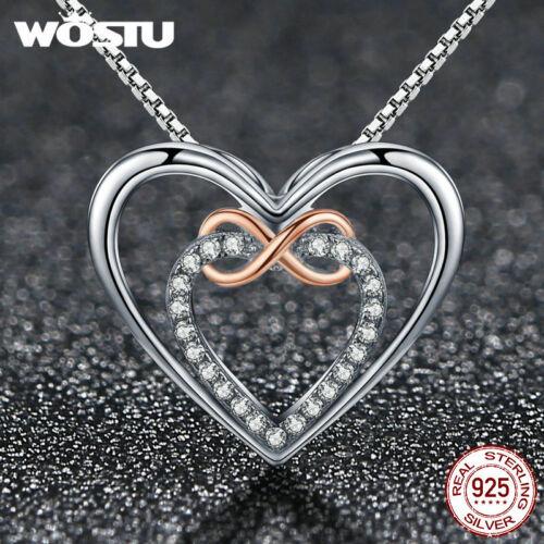 Wostu Delicate Heart S925 Sterling Silver Pendant Necklace K Gold Platinum /& CZ