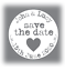 60-x-Personalised-wedding-stickers-Save-The-Date-names-white-grey-35mm-favours thumbnail 1