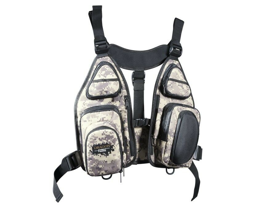 NUEVO  DRAGON STREET FISHING TECHNICAL VEST TECH VEST WITH REPLACEMENT HANDBAGS