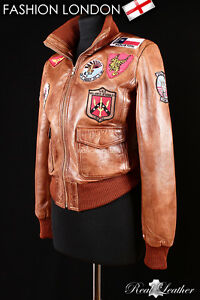 Tan Bomber Jacket Pilot Napa Style Leather Ladies Aviator 'top Gun' N0k8wXOnP