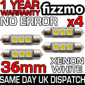 4x 3 SMD LED 36mm C5W CANBUS ERROR XENON WHITE NUMBER PLATE LIGHT FESTOON BULB