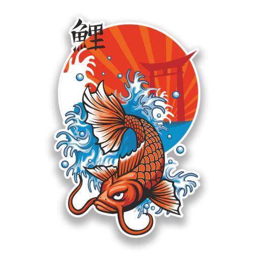 2 x Koi Carp Vinyl Stickers Fish Japan #7198