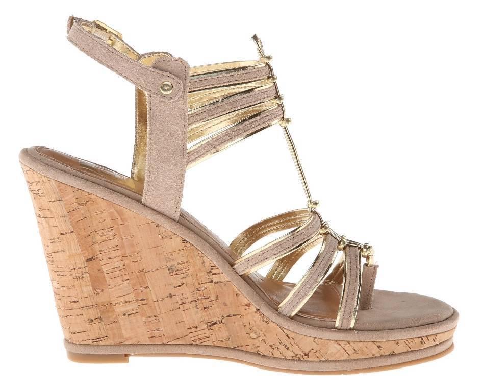 Women's Shoes Dolce Vita TENLEY Gladiator Wedge Sandal Cork Heel Nude Suede