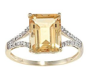 10-Quilates-Oro-Amarillo-Octagono-Citrino-y-Diamante-Anillo-1-8-Patron