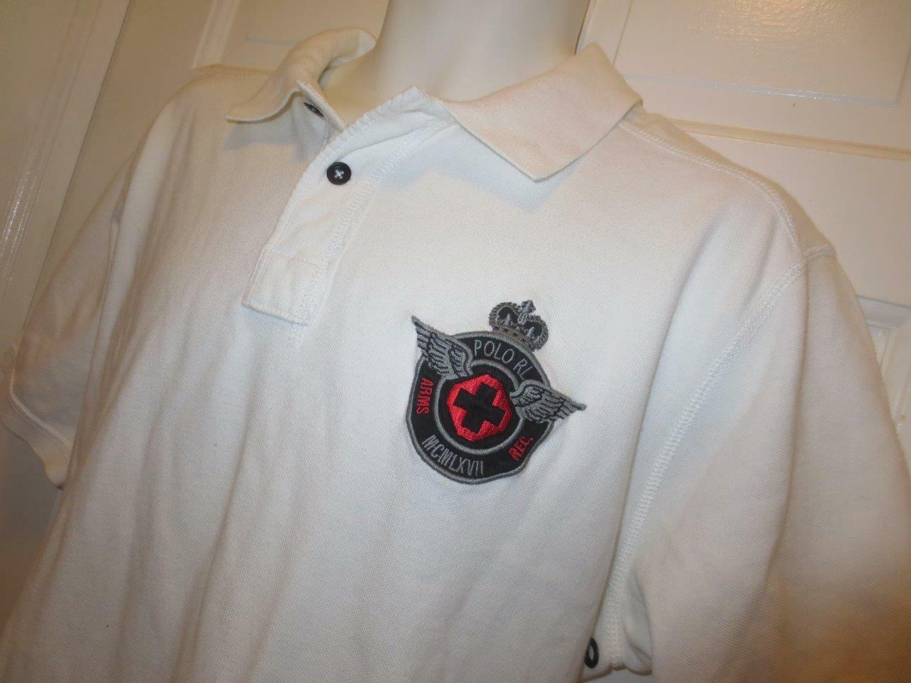 6434466b686 RALPH LAUREN Mens POLO RL ARMS REC Embroidered CREST Patch Rugby SHIRT XXL  2XL
